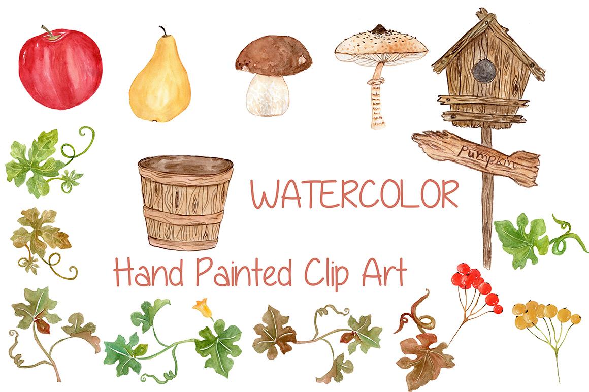 Watercolor pumpkin clipart example image 3