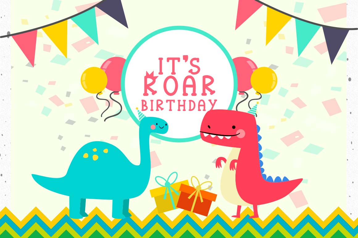Roarr! dino party, a funny uppercase font example image 4