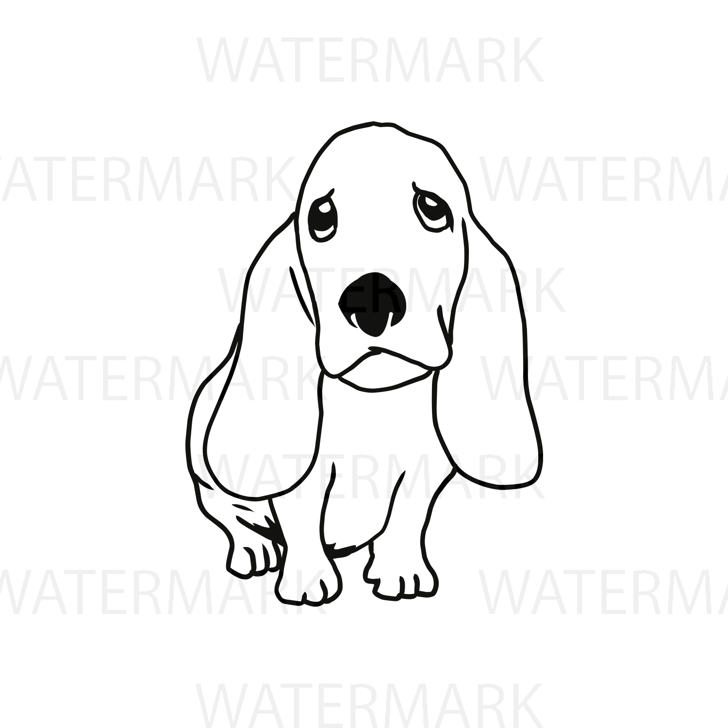 Cute Dogs C Basset Hound Outline - SVG/JPG/PNG Hand Drawing example image 1