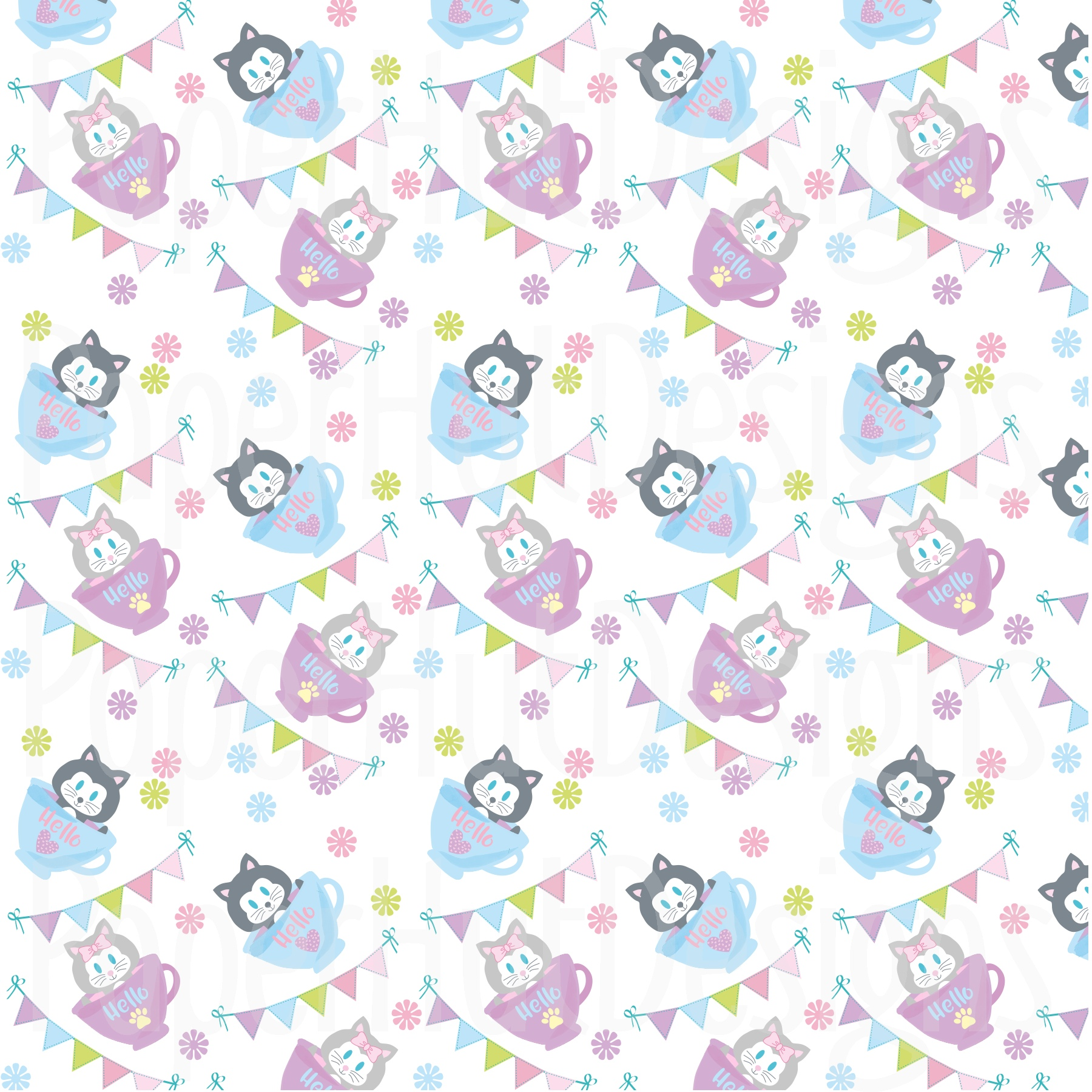 Cat Clipart and Digital Papers Set example image 4
