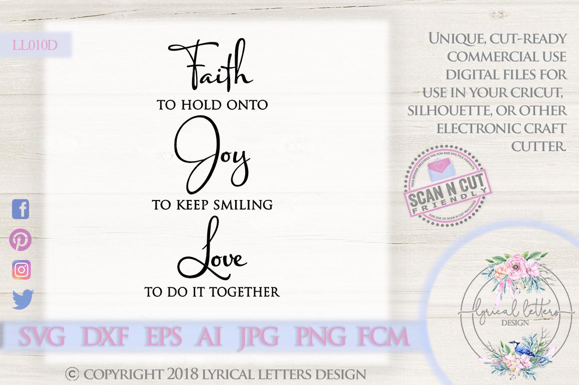 Faith Joy Love SVG DXF Cut File LL010D example image 1