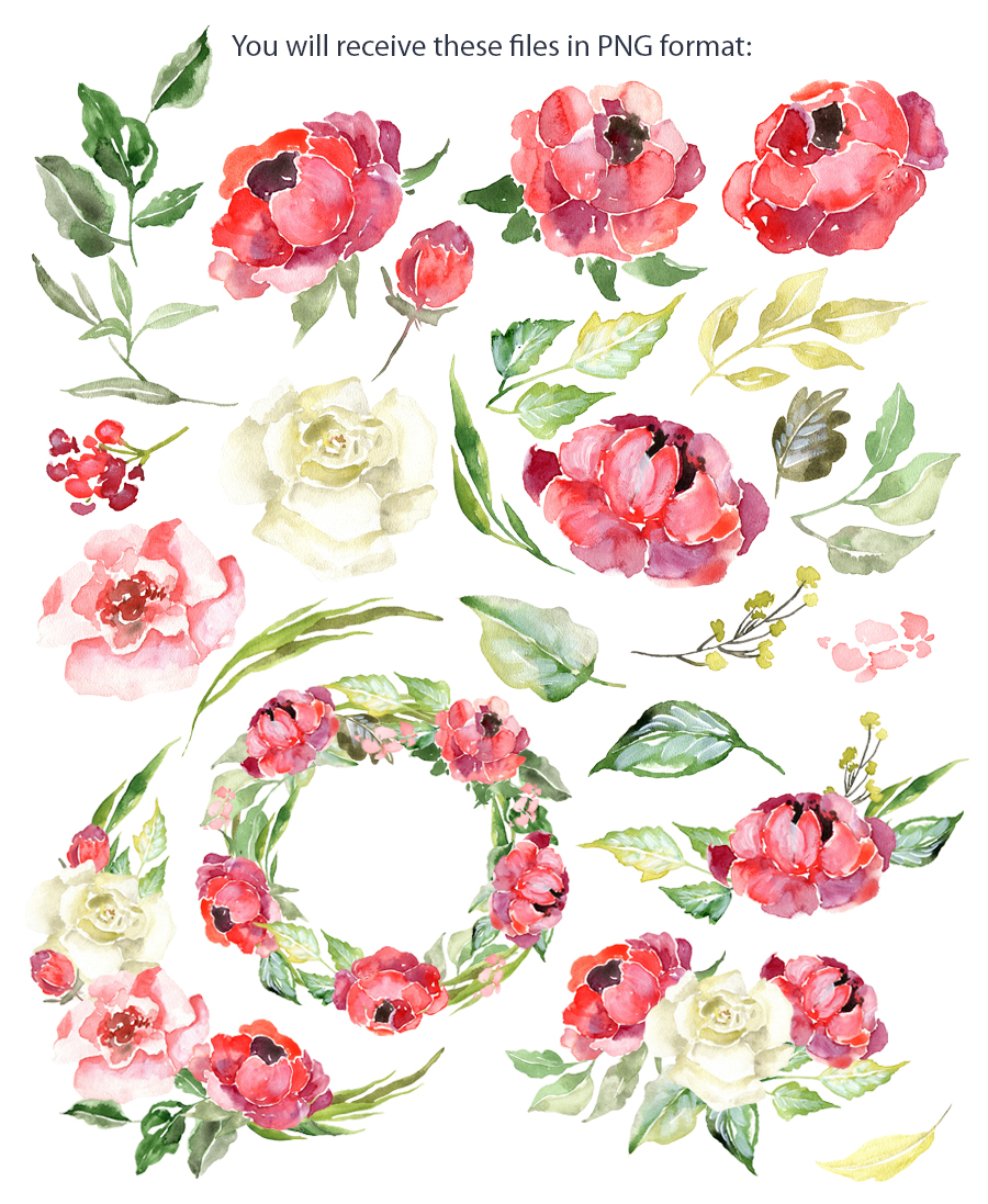 Watercolor burgundy & red flowers example image 2
