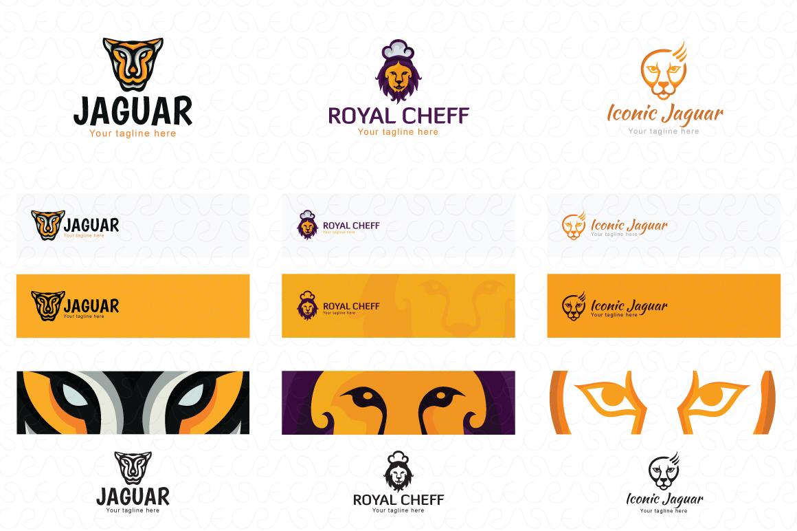 Lion Jaguar Tiger Animal Logo Templates Pack of 10 example image 4