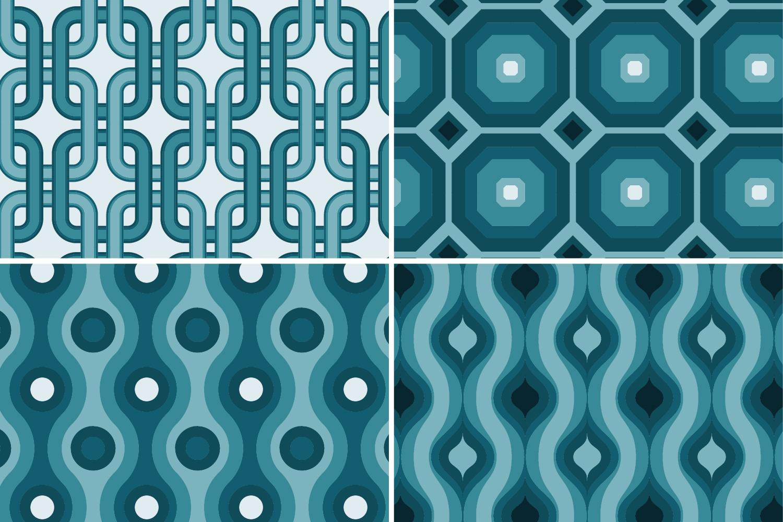 8 Seamless Retro Modern Patterns - Teal example image 7