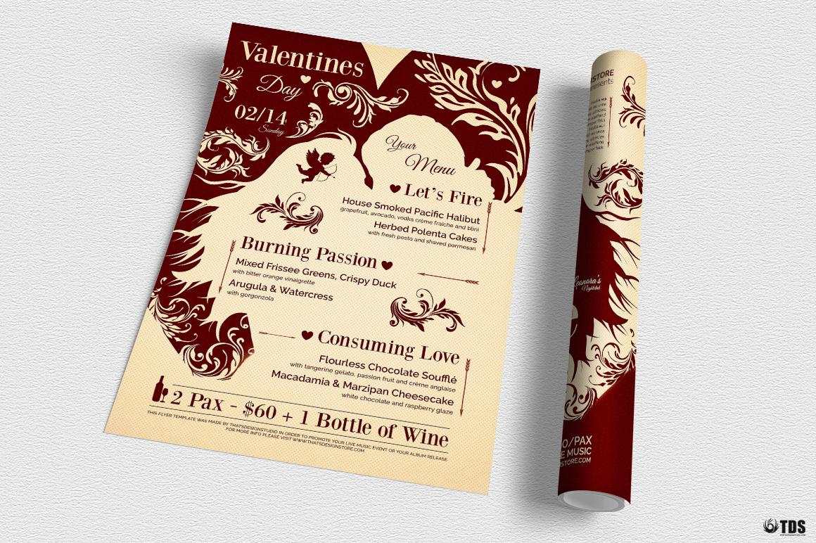 Valentines Day Flyer + Menu Bundle V6 example image 3