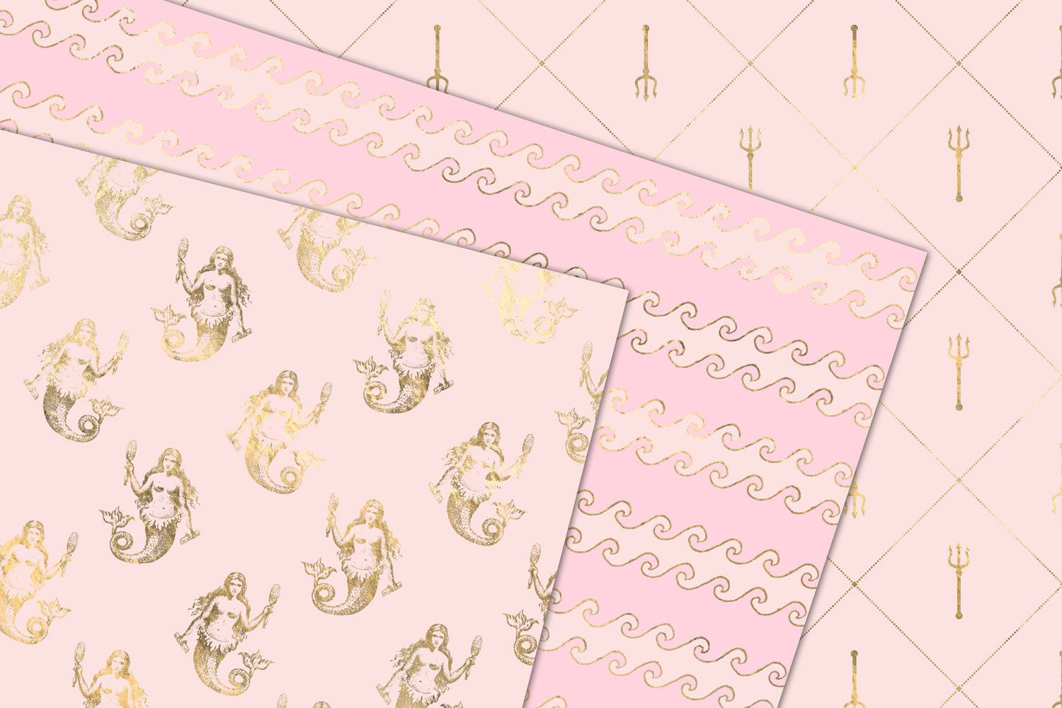 Pink and Gold Mermaid Digital Paper example image 3