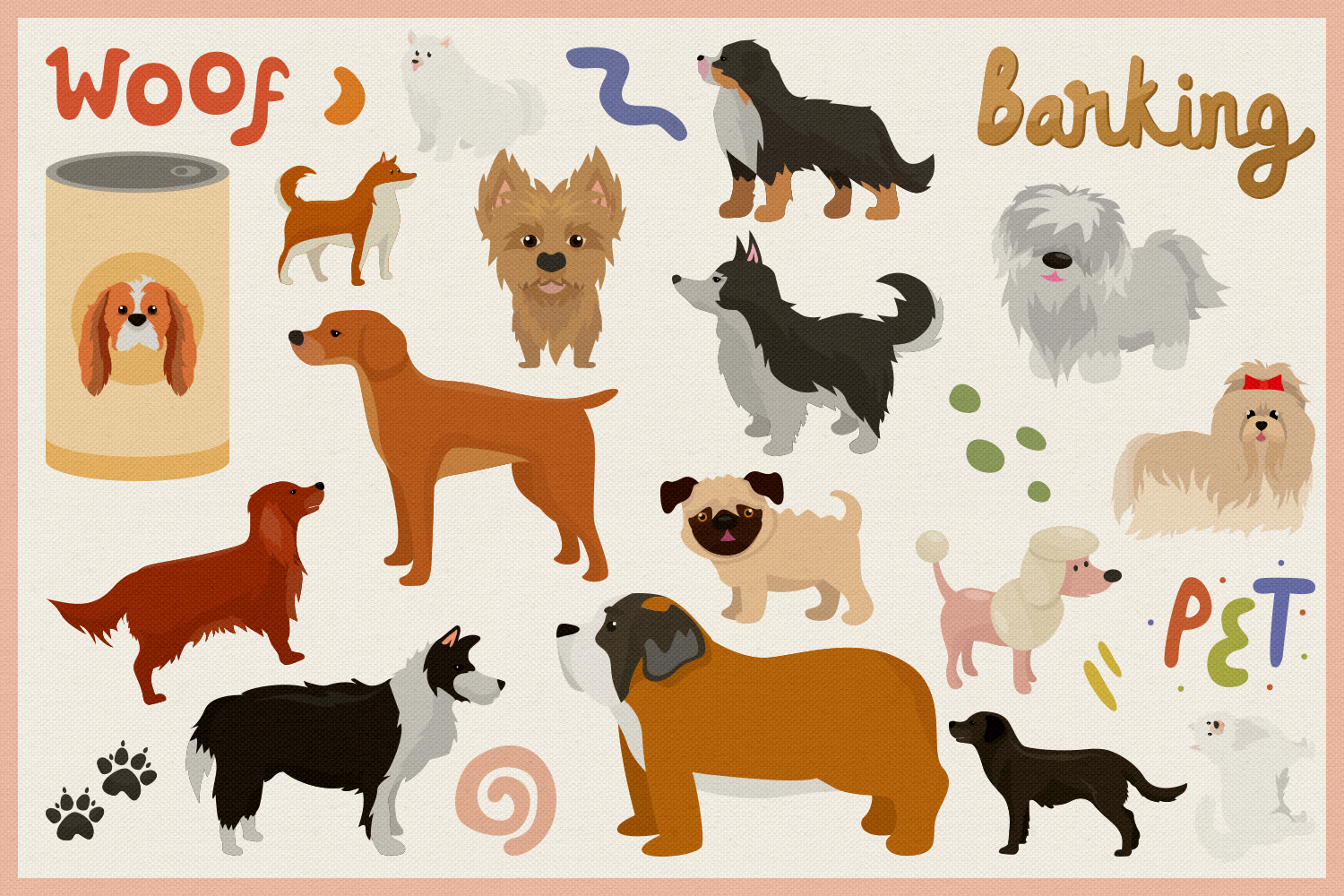 Cute Dog Vol.02 Vector Clipart and Seamless Pattern example image 3