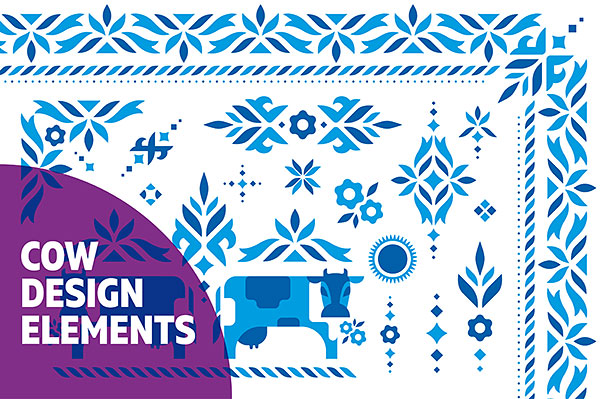 Cow Design Elements | Vector ornament set example image 1
