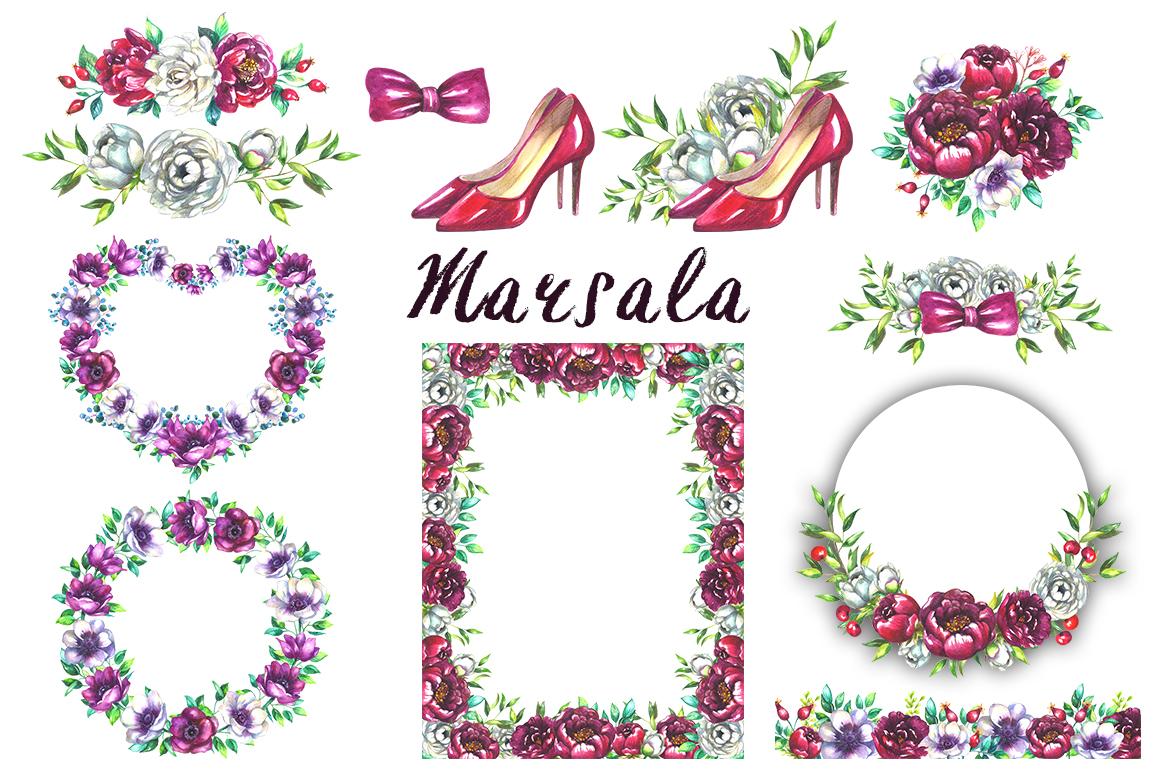 Marsala wedding clipart example image 3