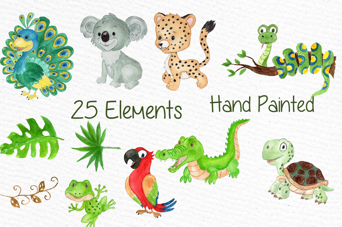 Watercolor animals clipart example image 2