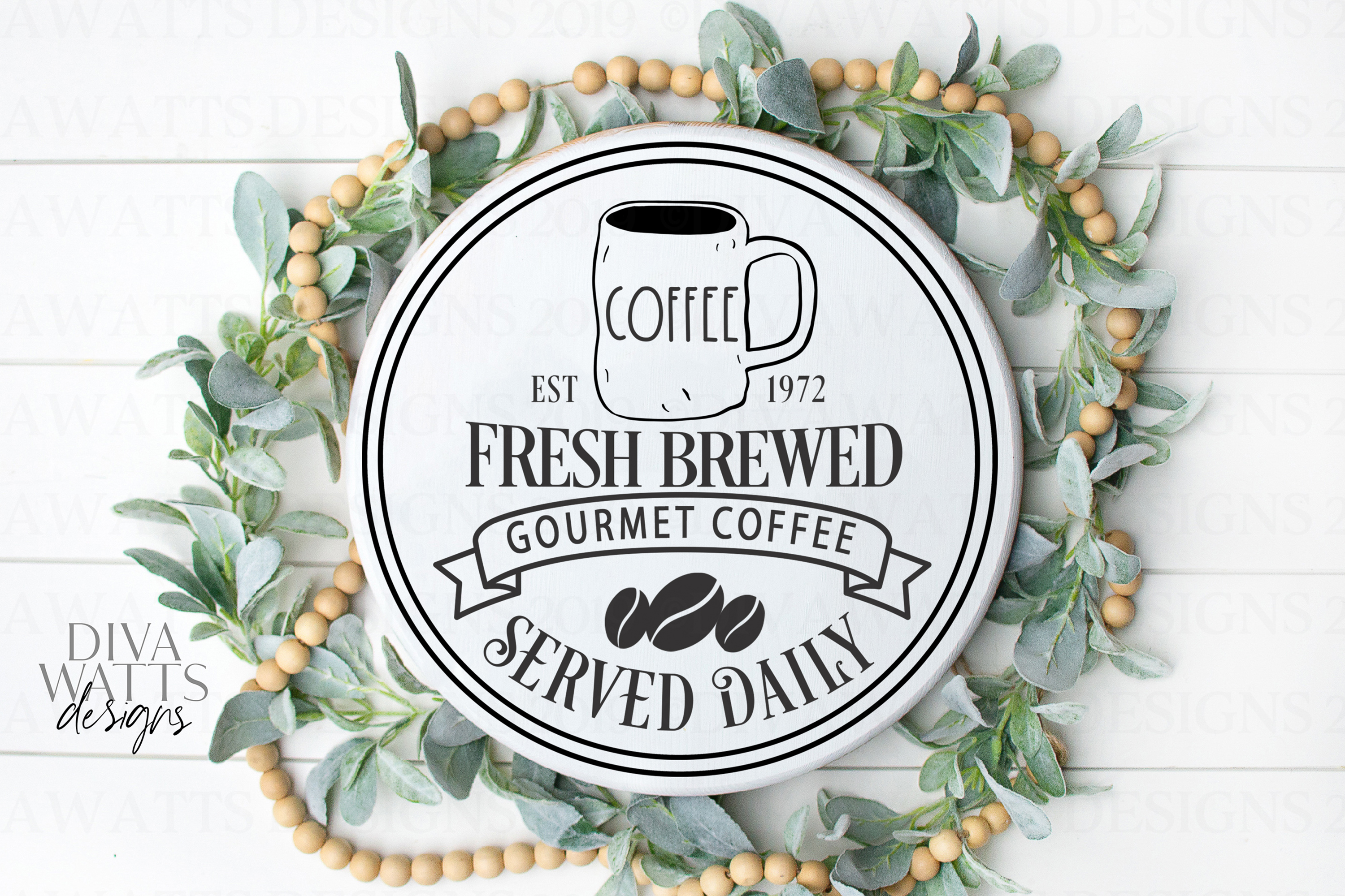 Fresh Brewed Coffee Farmhouse Sign with Lumpy Mug Coffee Bar example image 1