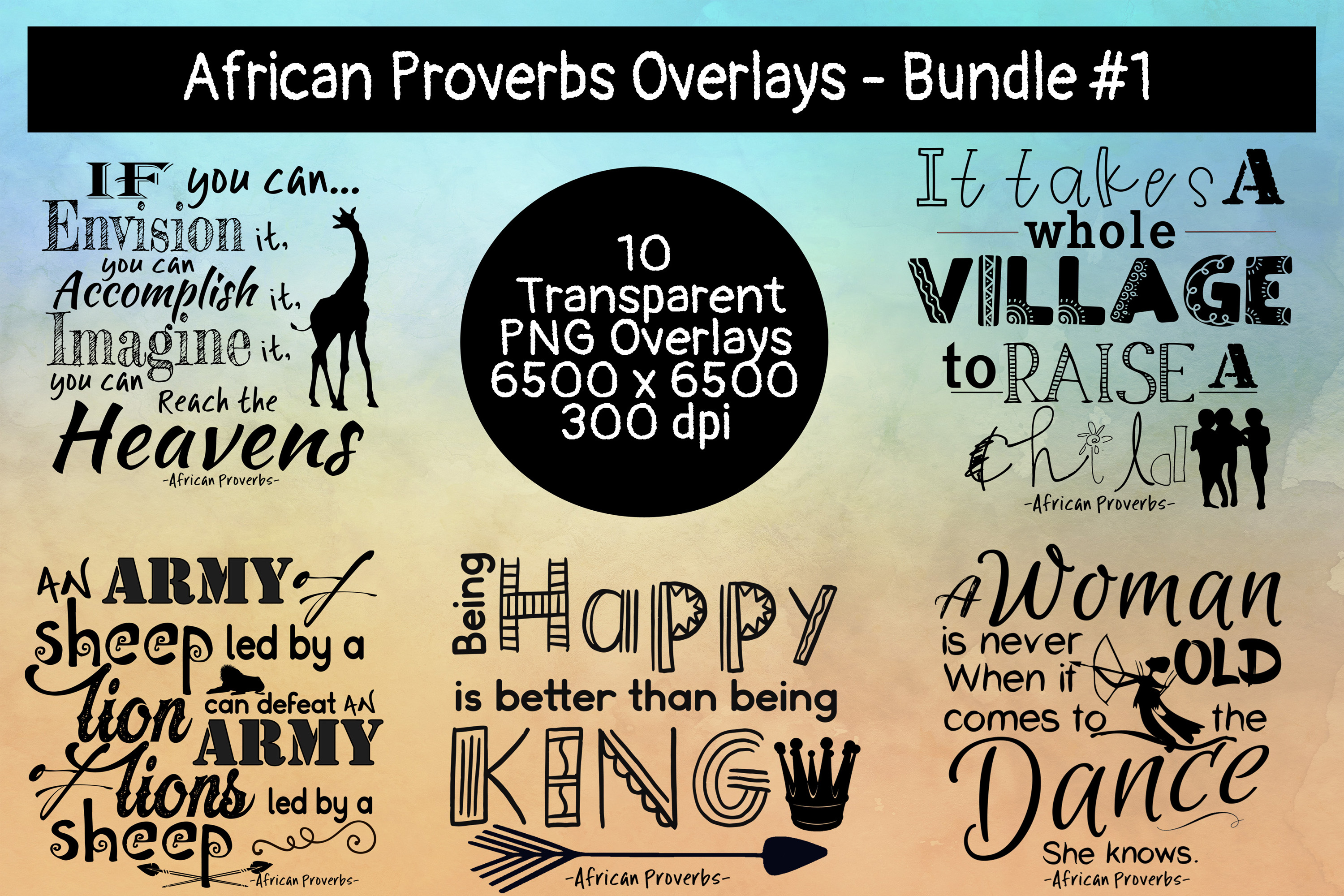 African Proverbs Overlays Bundle #1 example image 1