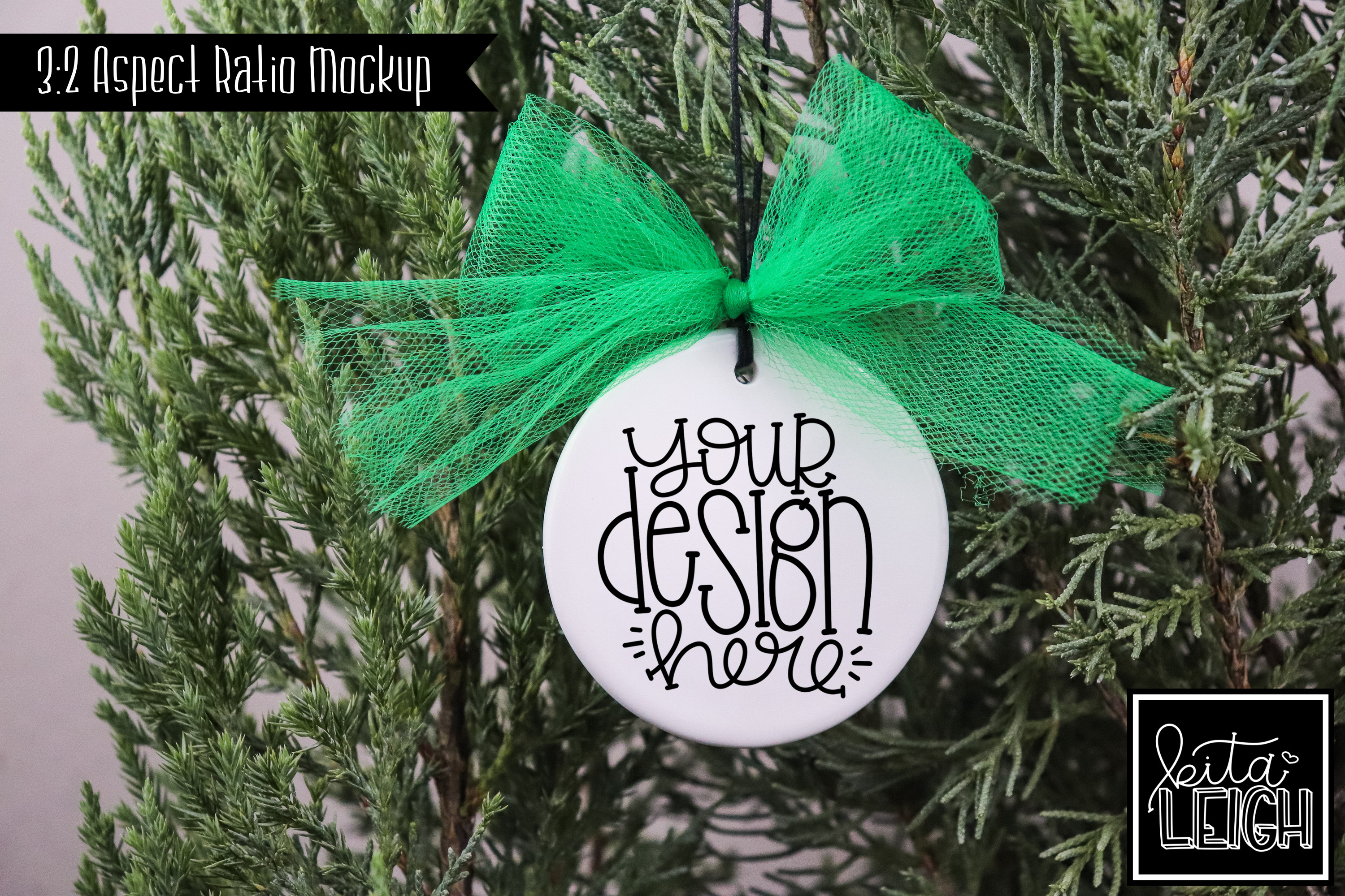 Green Tulle Flat Ceramic Ornament Mockup example image 1