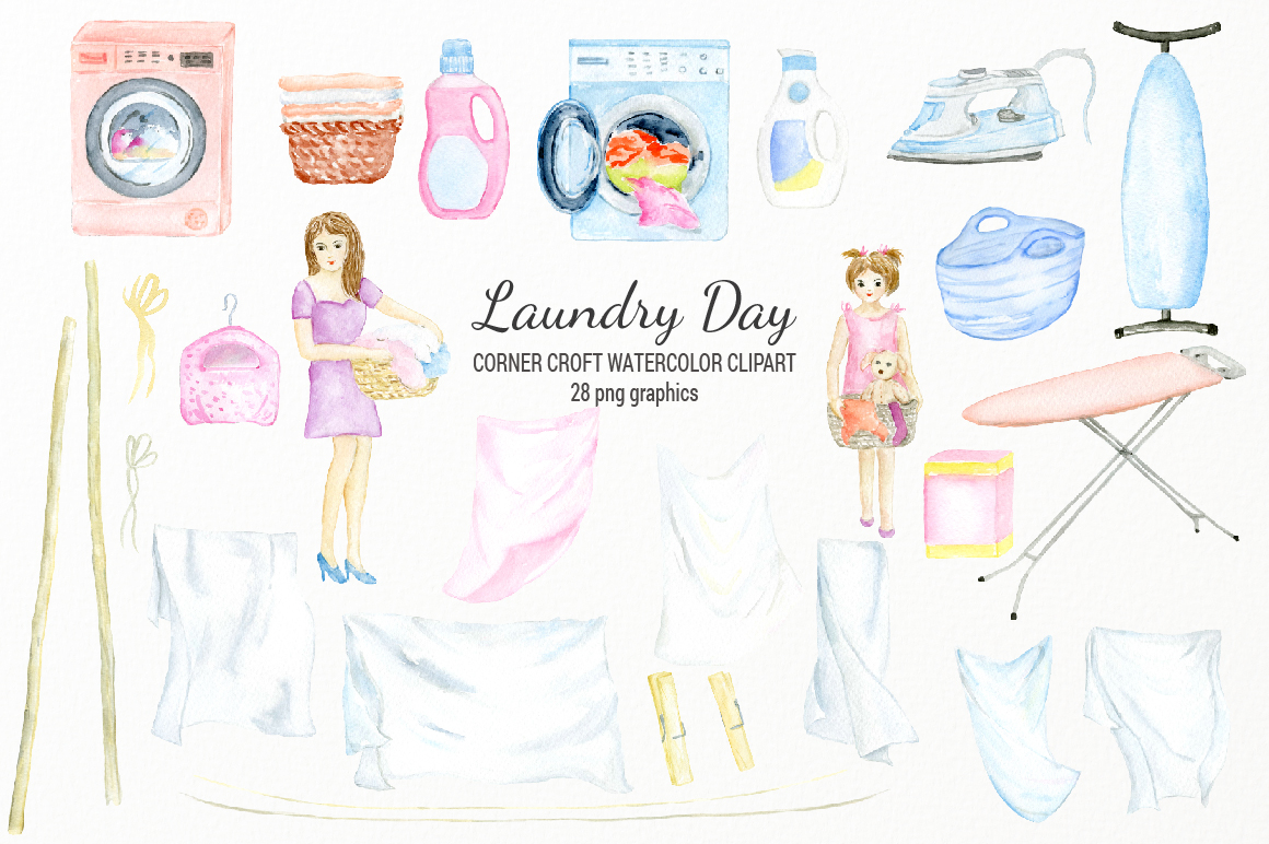 Watercolor laundry day clipart for instant download example image 2