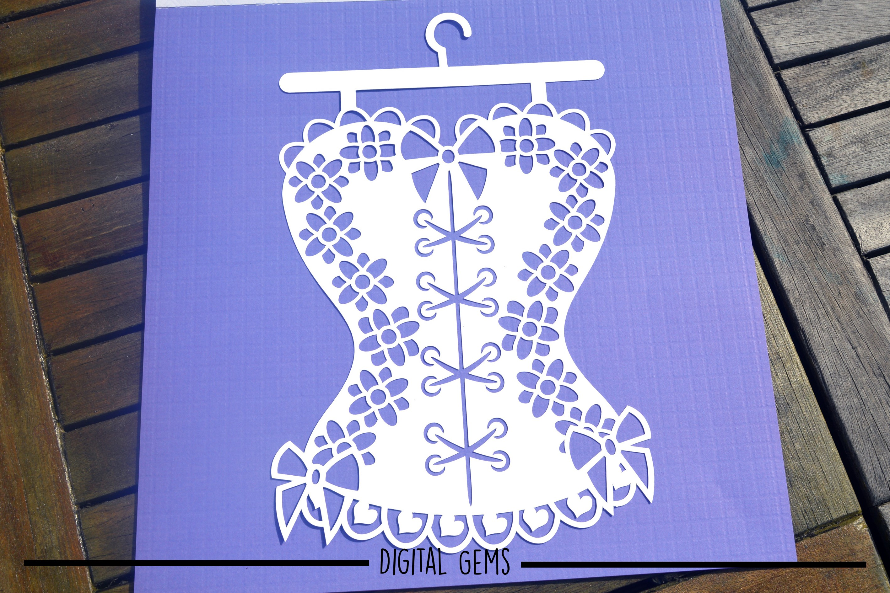 Corset paper cut design SVG / DXF / EPS / PNG files example image 5