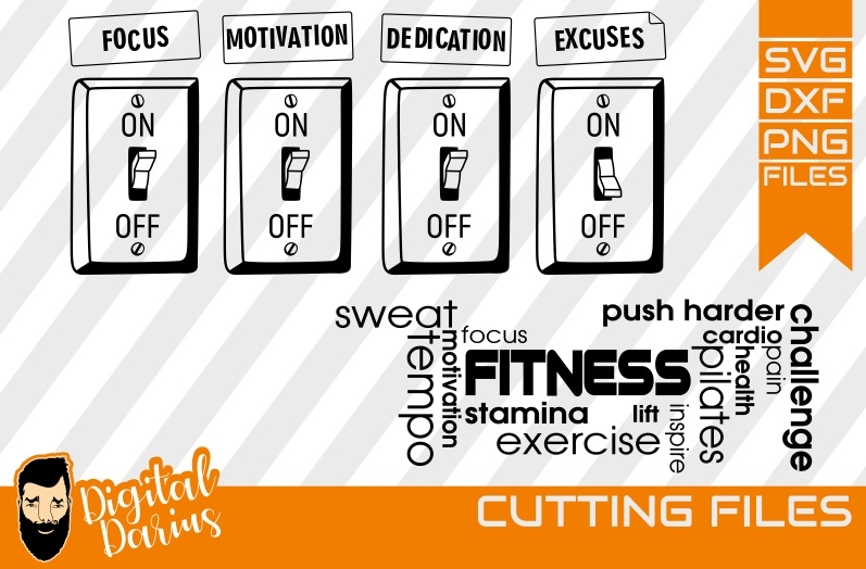 2x Motivational quote svg, Fitness svg, Workout, focus on example image 1