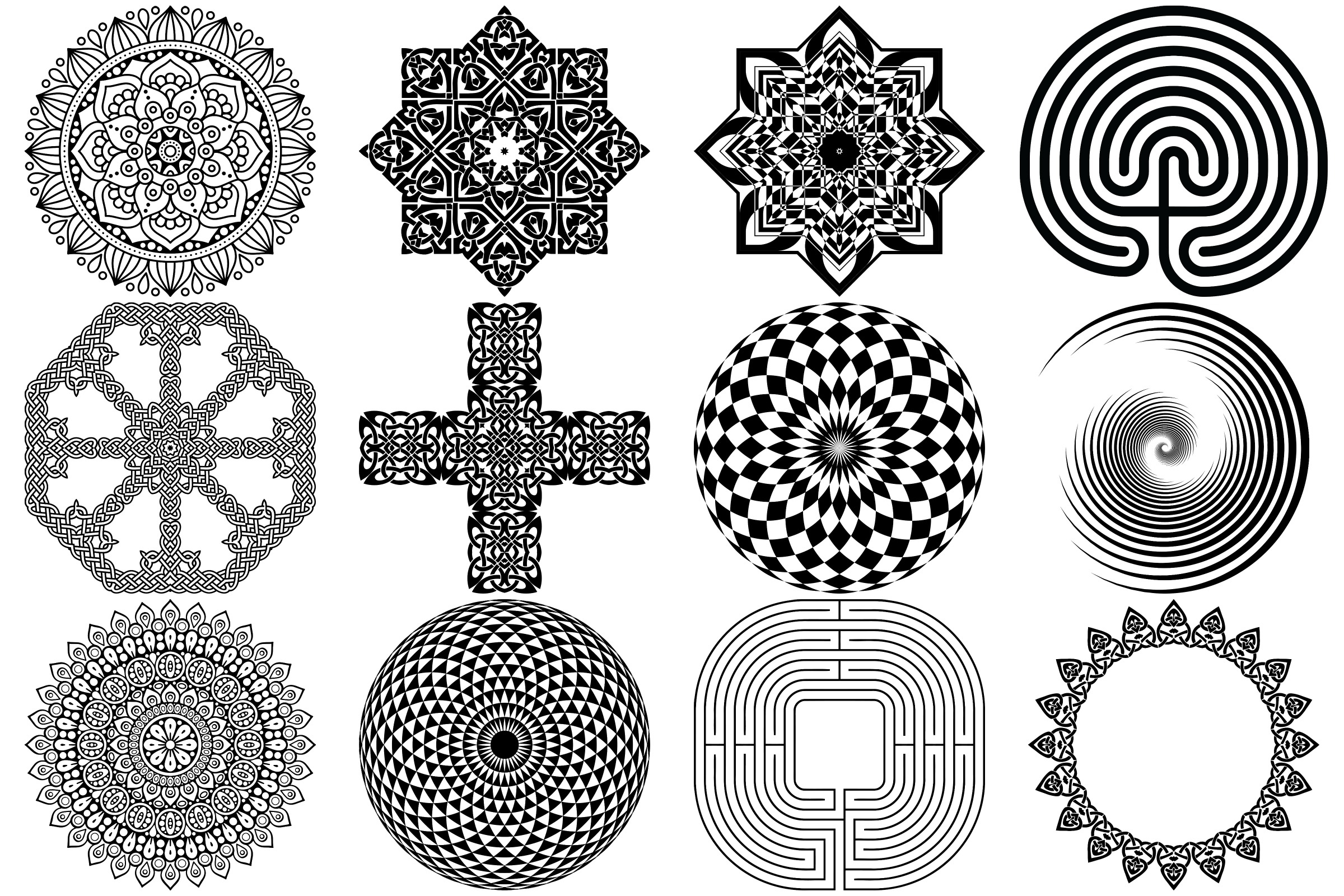 Labyrinth, Mandalas & Celtic Vectors AI EPS PNG example image 2