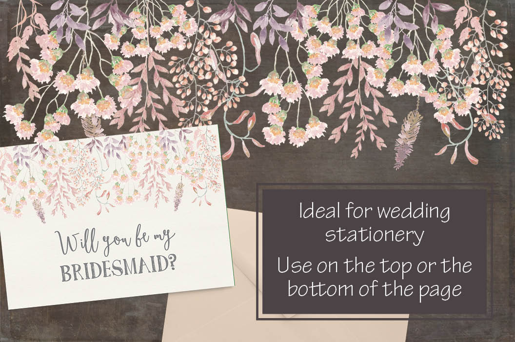 Watercolor border in peachy blush tones example image 2