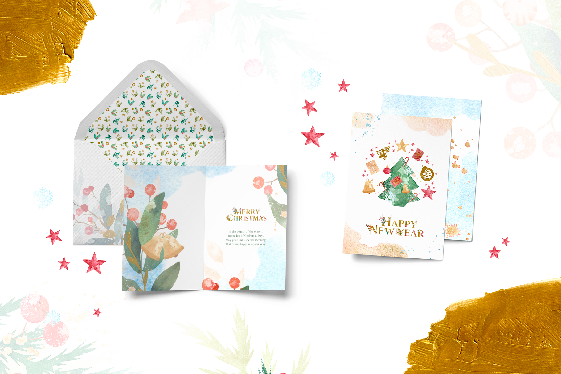 Merry Christmas Watercolor Design Set example image 2