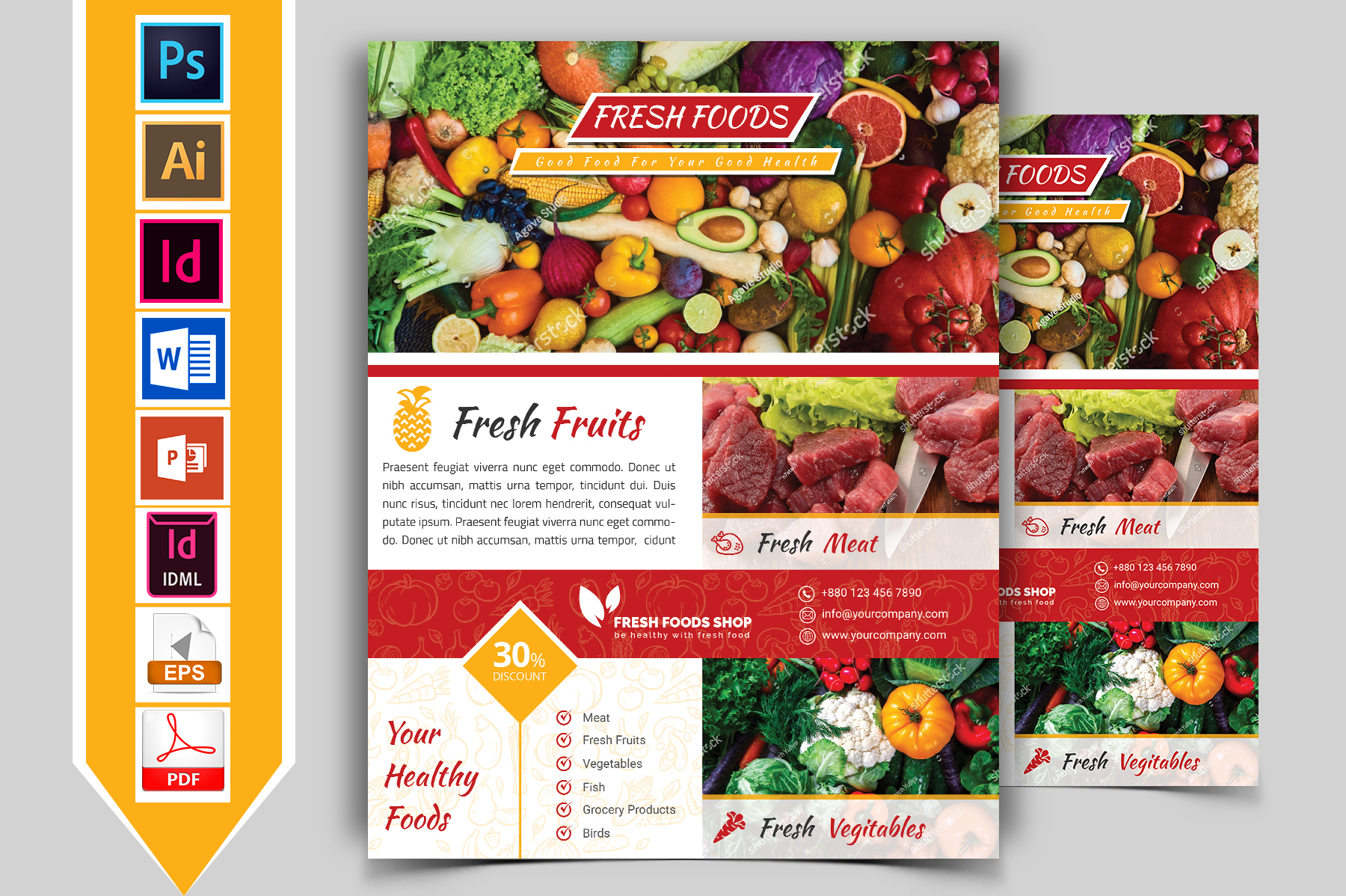 Fresh Food Grocery Shop Flyer Vol-01 example image 1