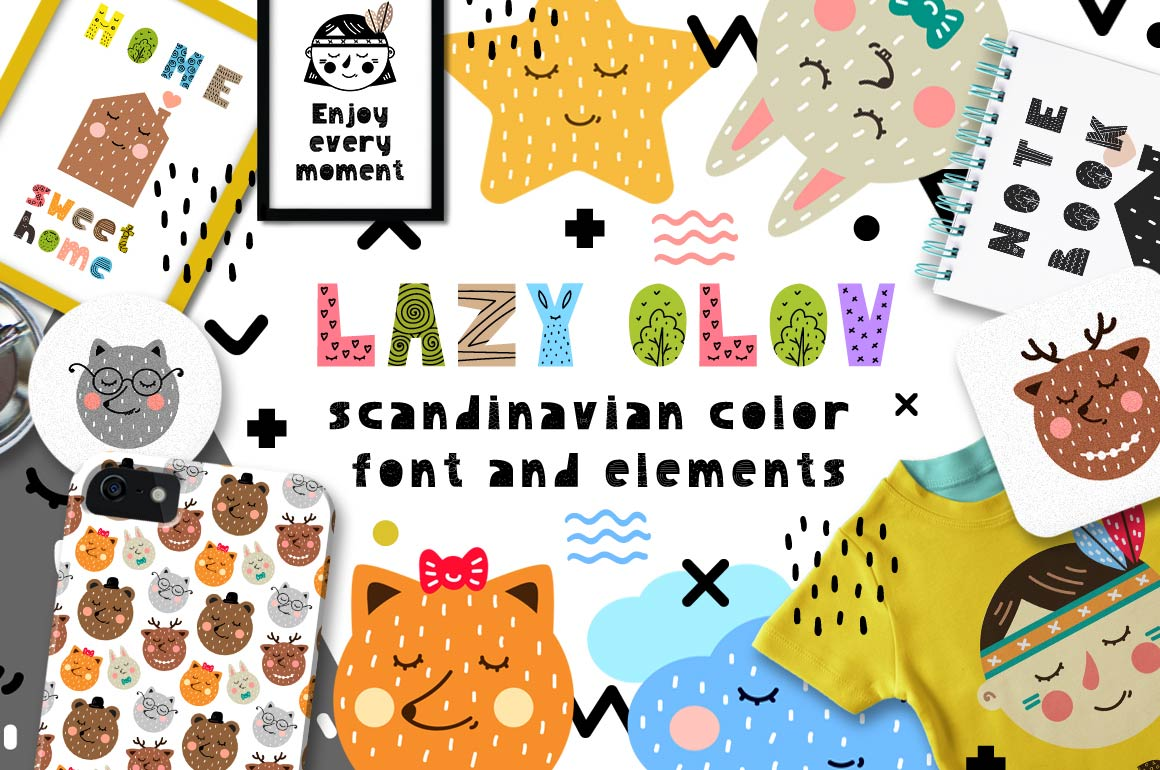 Lazy Olov - Scandinavian Color Font example image 1