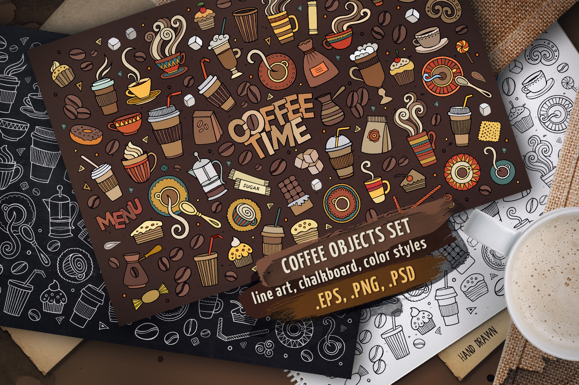 Coffee Objects & Elements Set example image 1