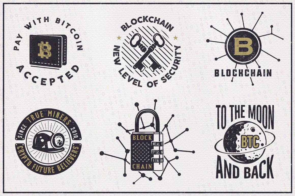 Bitcoin & Blockchain Vintage Emblems / SVG / EPS Files example image 2