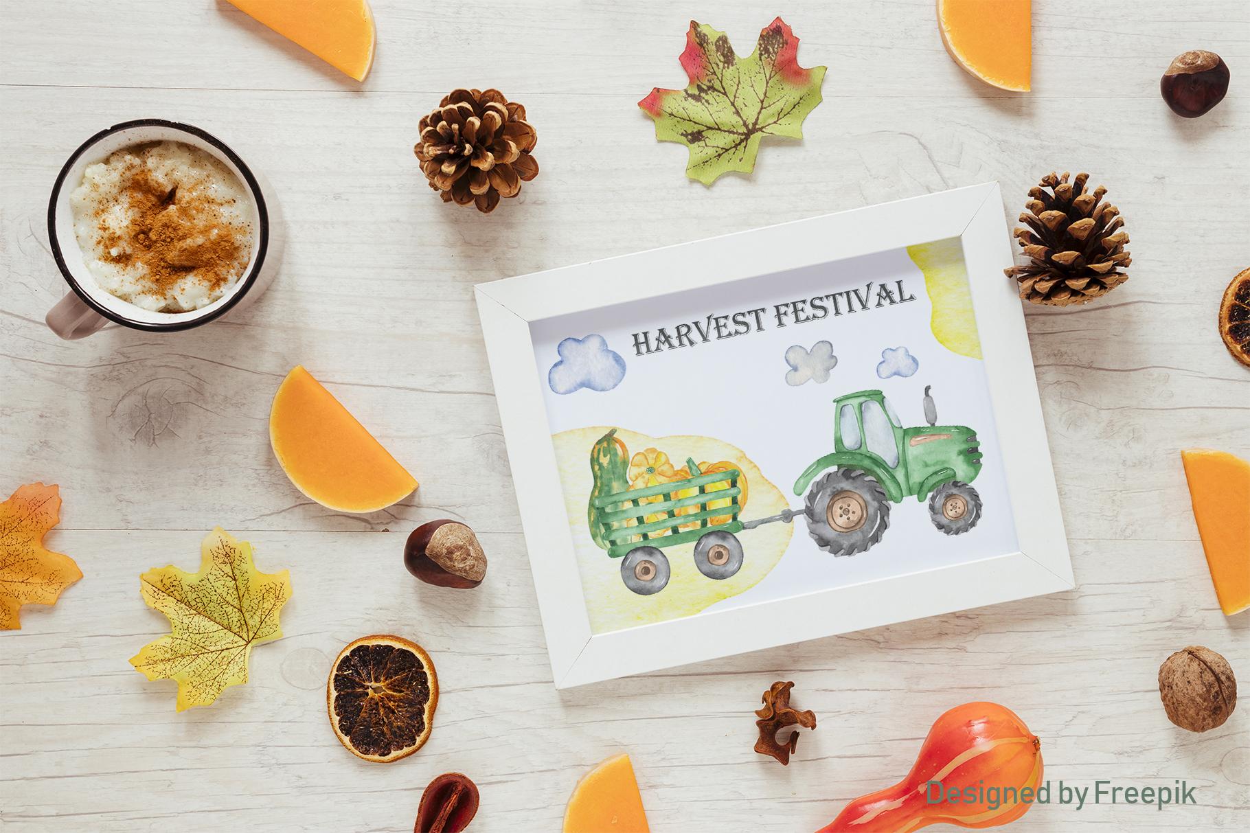 Tractor, harvesting, hay, pumpkin, farm. Watercolor clipart example image 6