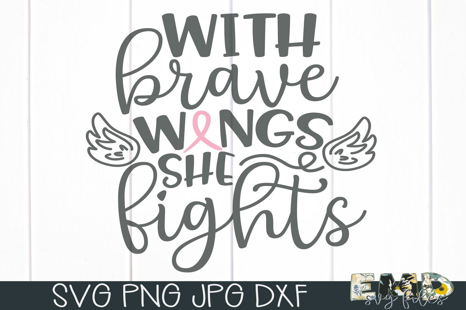 With Brave Wings She Fights Svg example image 2