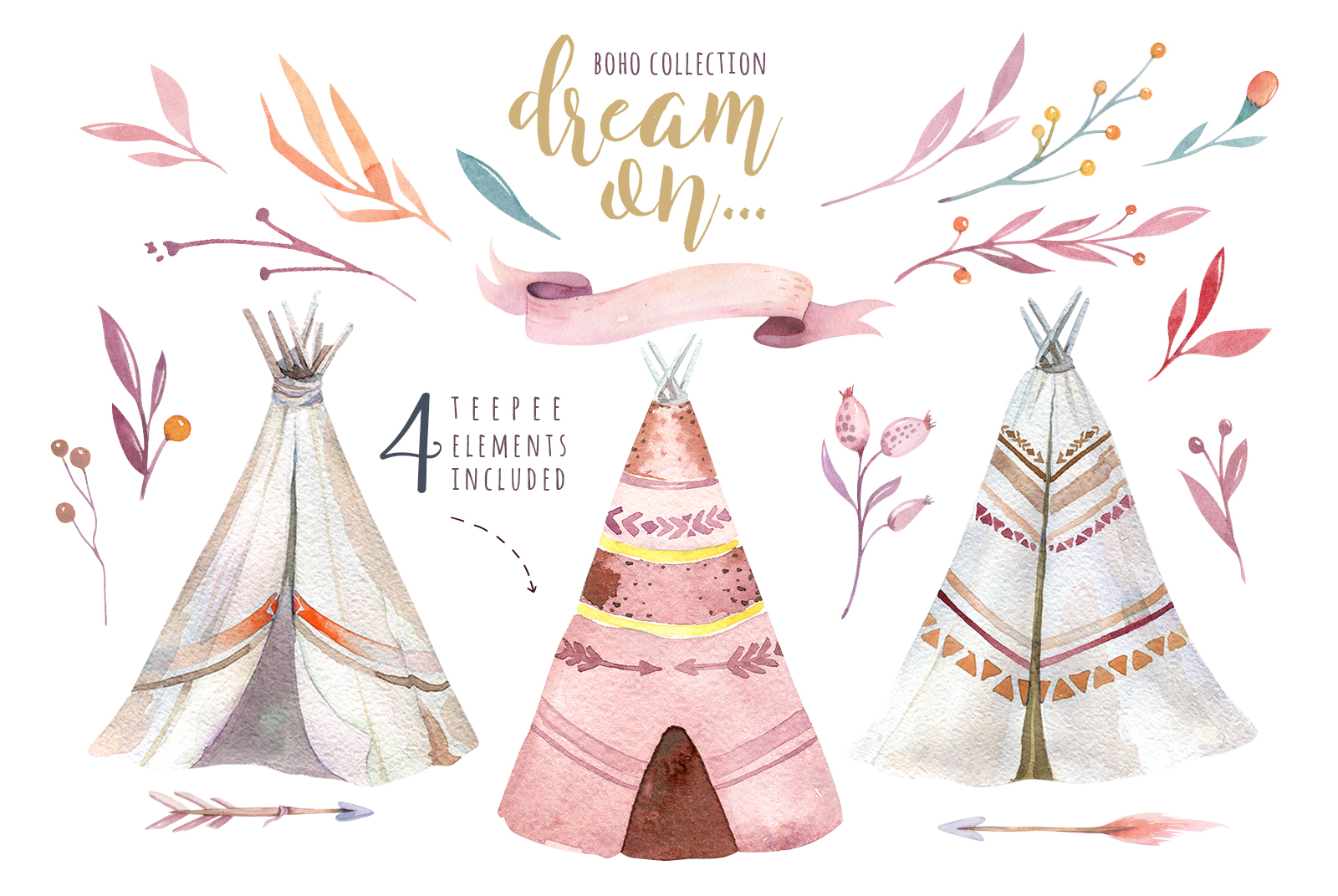 Watercolor teepee collection example image 10