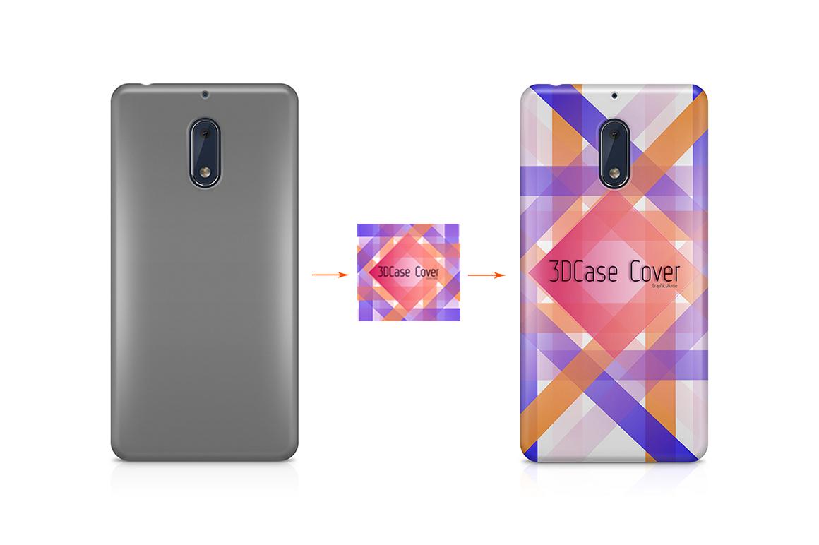 Nokia 3-5-6-8-3D Case Design Mockup Back View example image 4