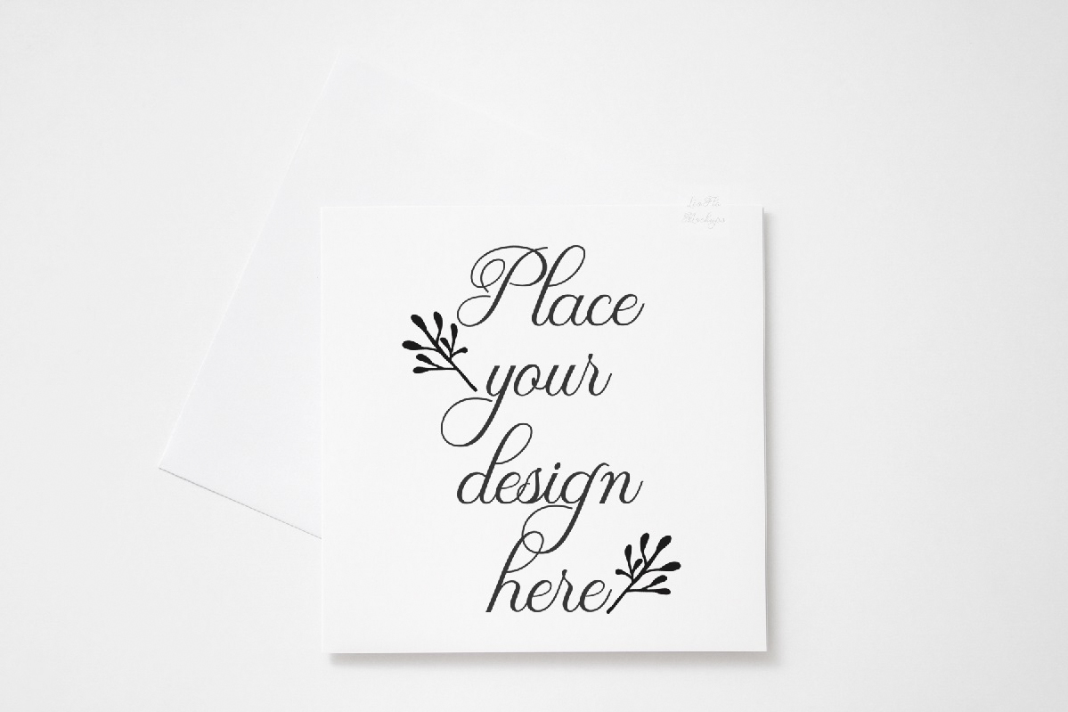 Square Greeting Card Mockup psd invitation with envelope example image 1