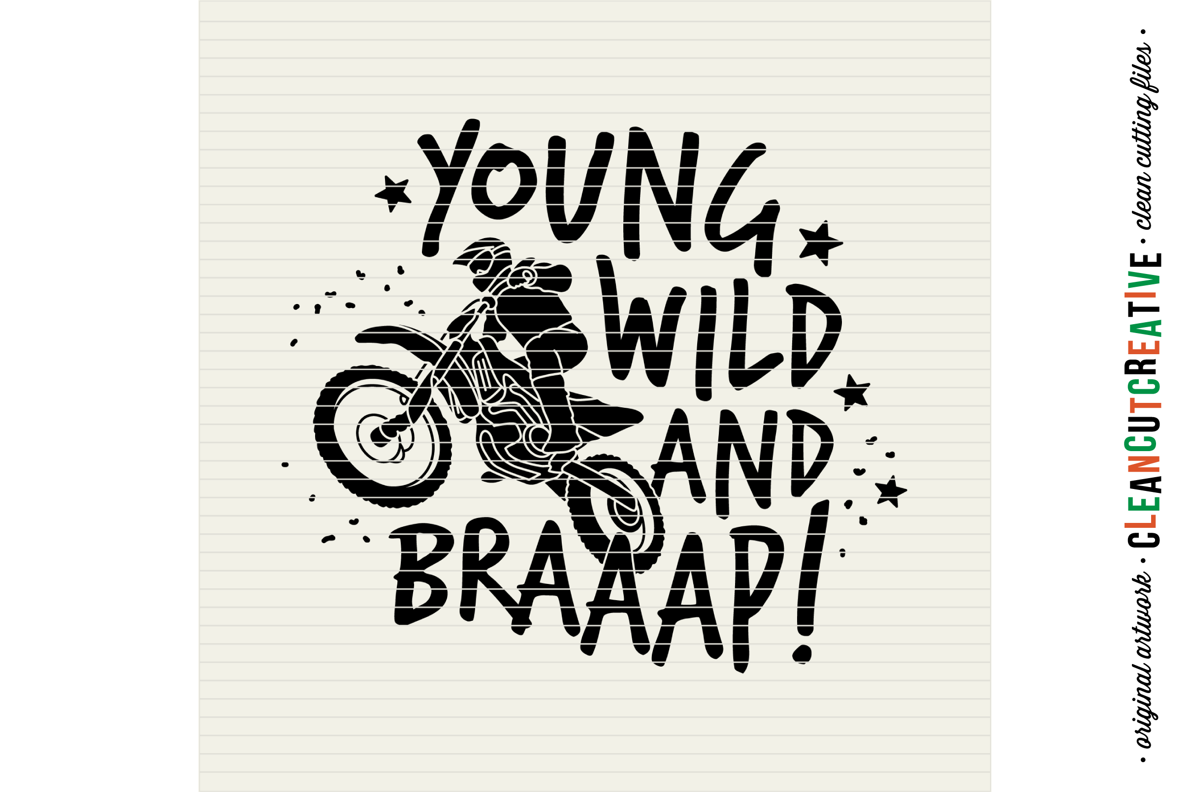 Young Wild and BRAAAP! Boys design for Motocross Dirt Bike Lovers! - SVG DXF EPS PNG - Cricut & Silhouette  example image 3