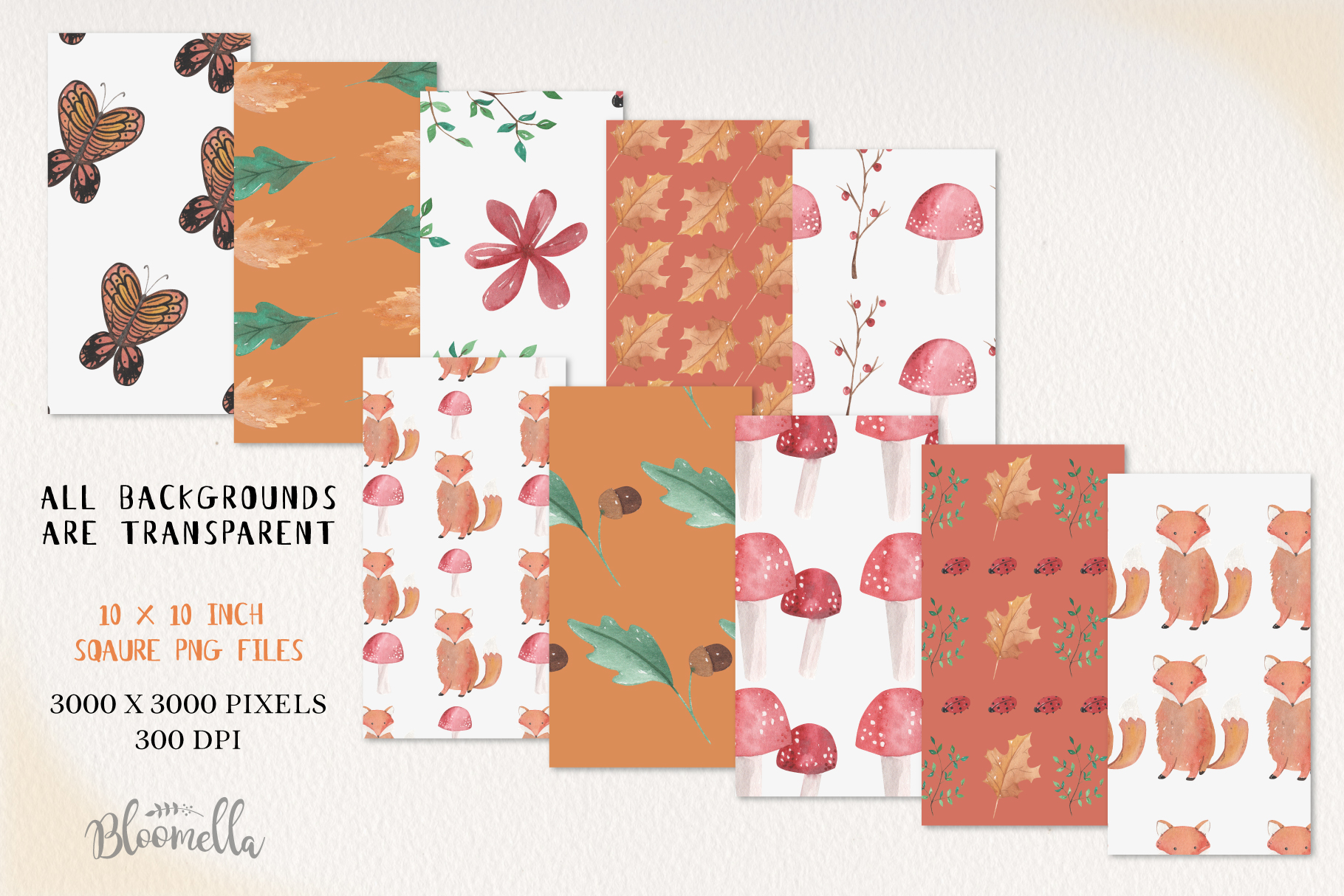 Woodland Seamless Patterns Digital Papers Fox Leaves Fall example image 3