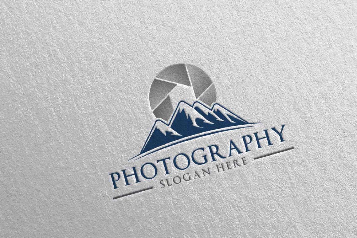 Abstract Mountain Camera Photography Logo 12 example image 4