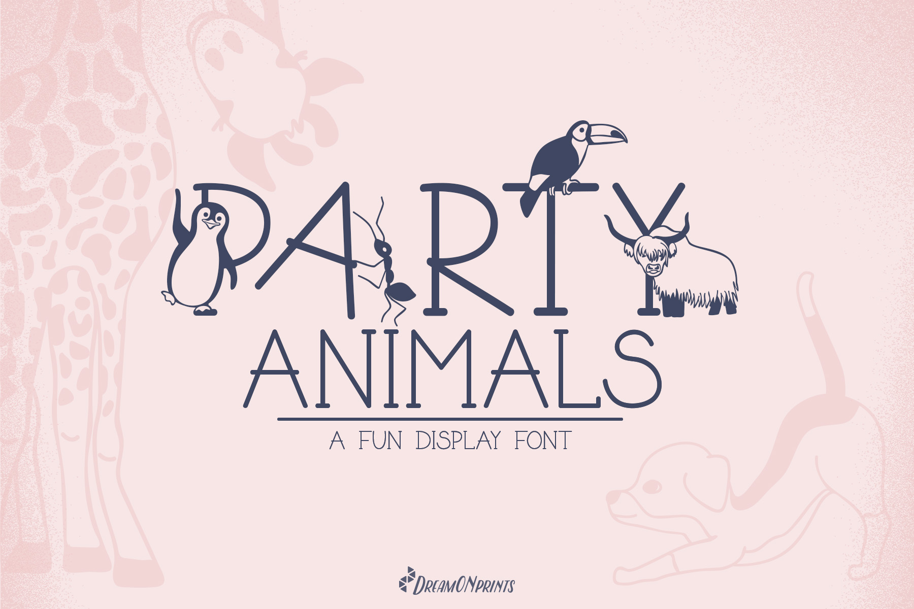 Party Animals - A Fun Display Font example image 1