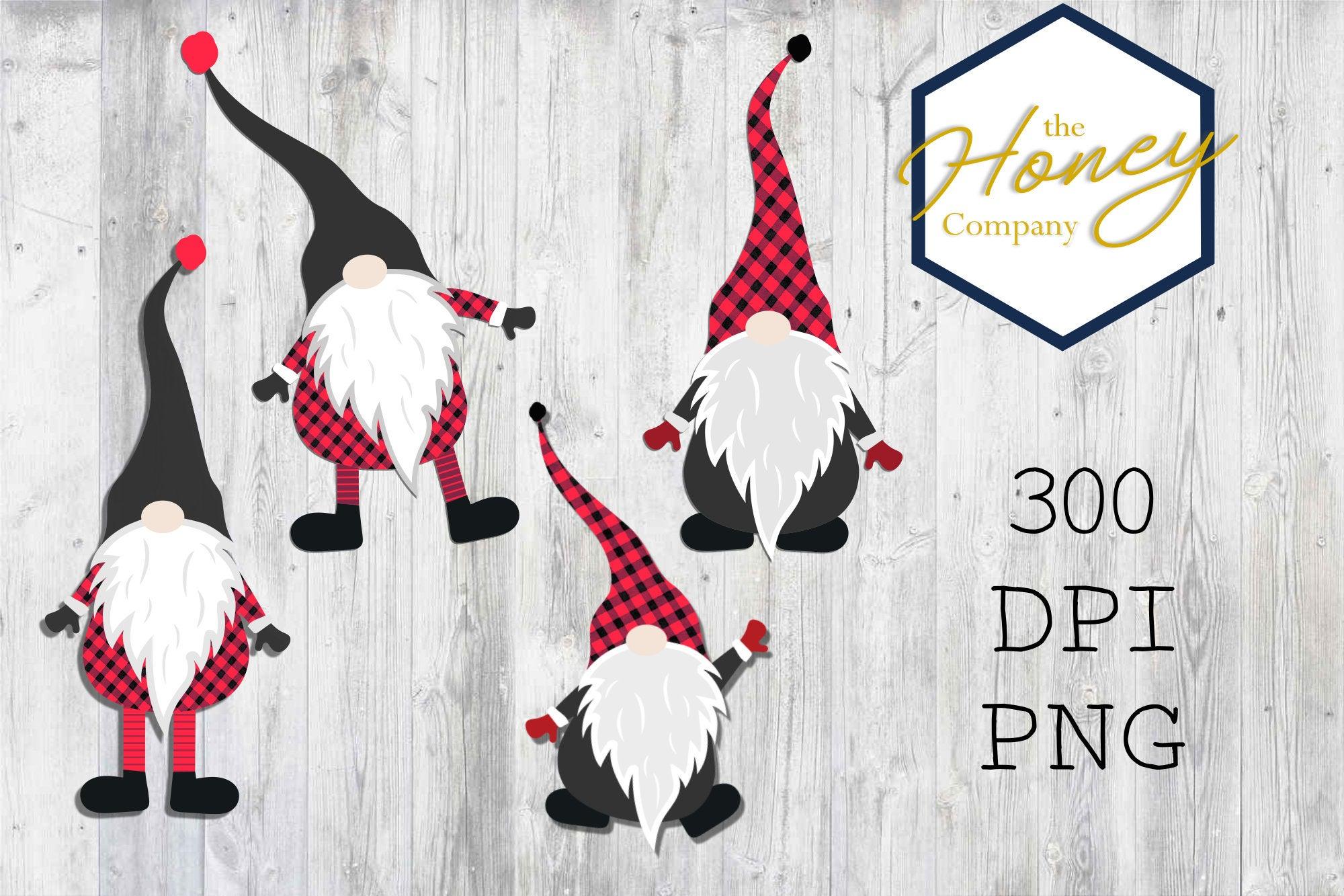 Plaid Christmas Gnome Set Sublimation 300 DPI Clipart PNG example image 2
