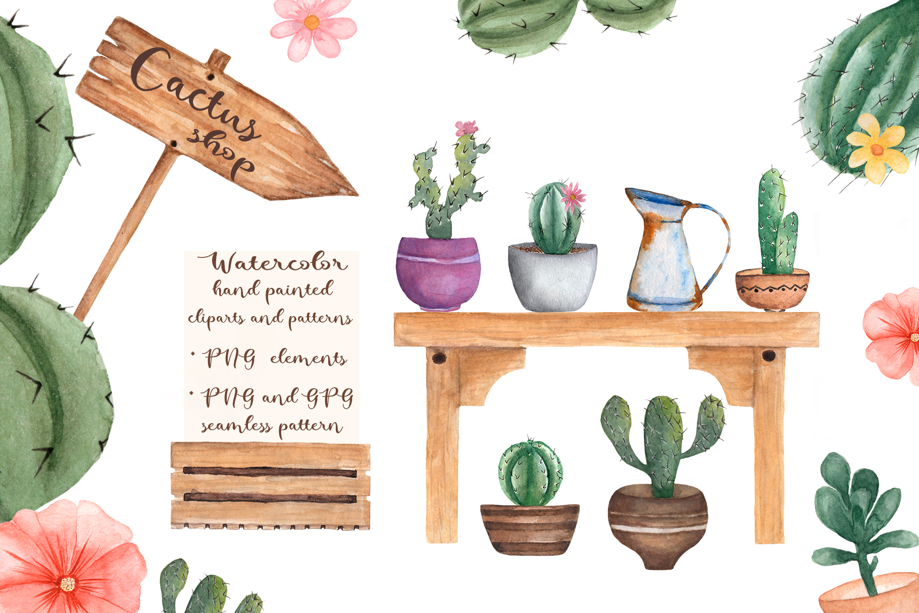 Watercolor Cactus Shop example image 1