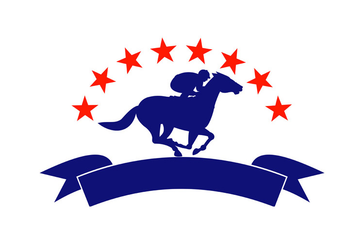 Horse and jockey racing silhouette stars example image 1