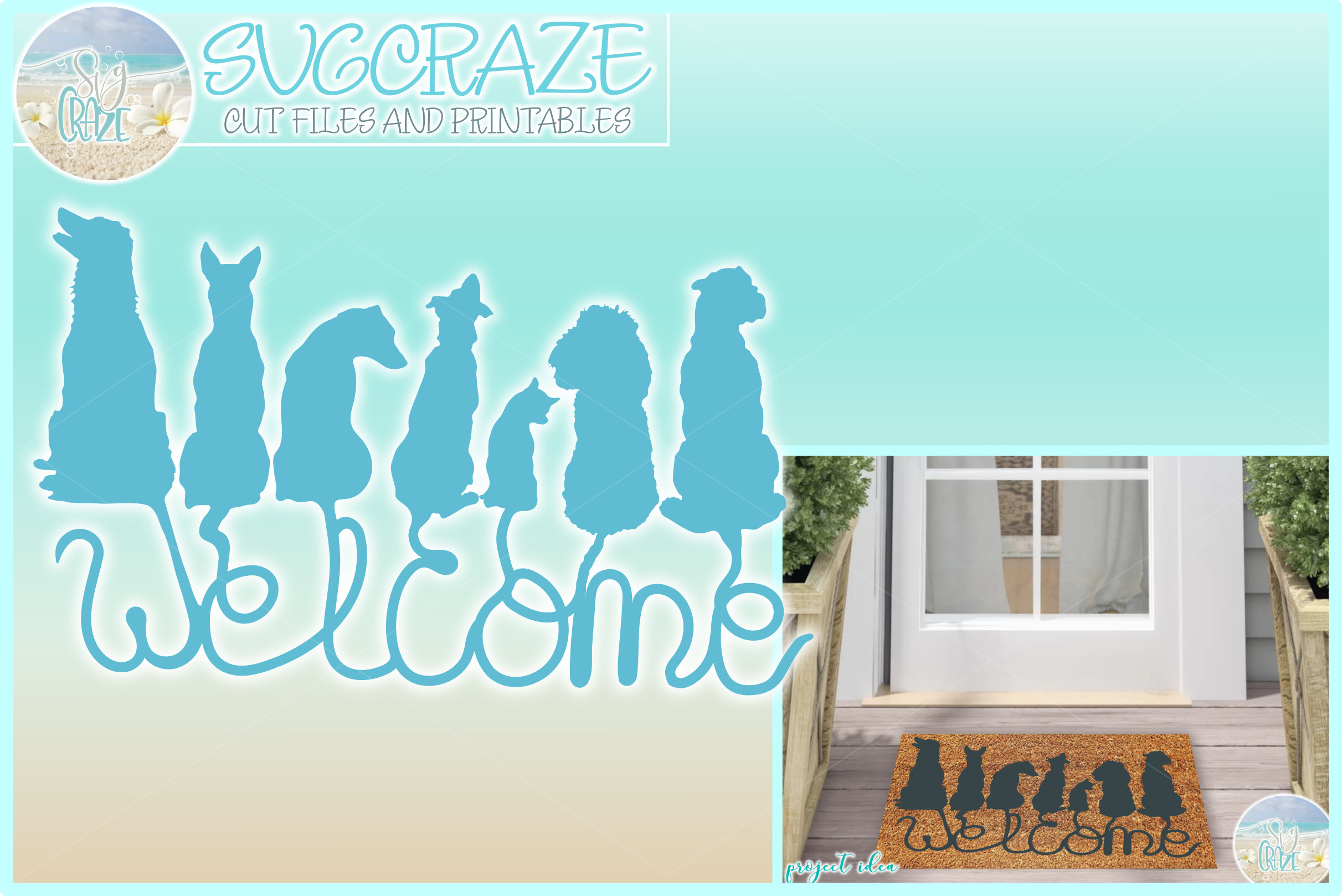 Dogs Welcome Coir Door Mat Design Svg Dxf Eps Png Pdf Files example image 1