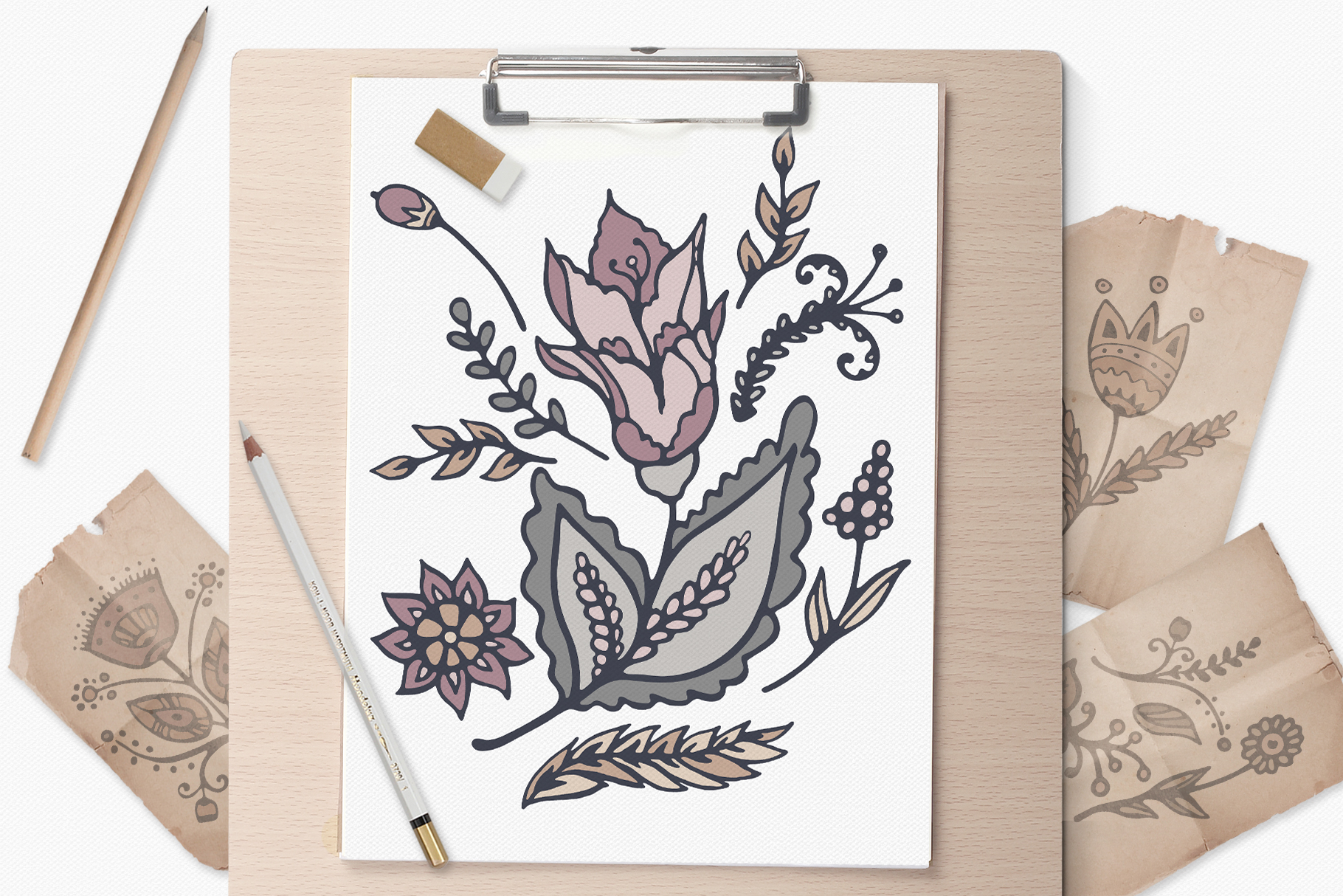 Hand Drawn Vector Floral Patterns & Illustrations example image 9