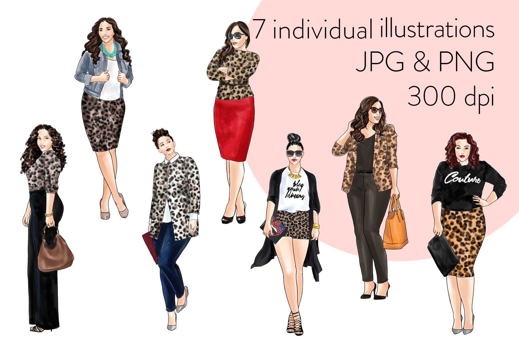 Fashion clipart - Curvy Girls in Animal Print - Light Skin example image 2