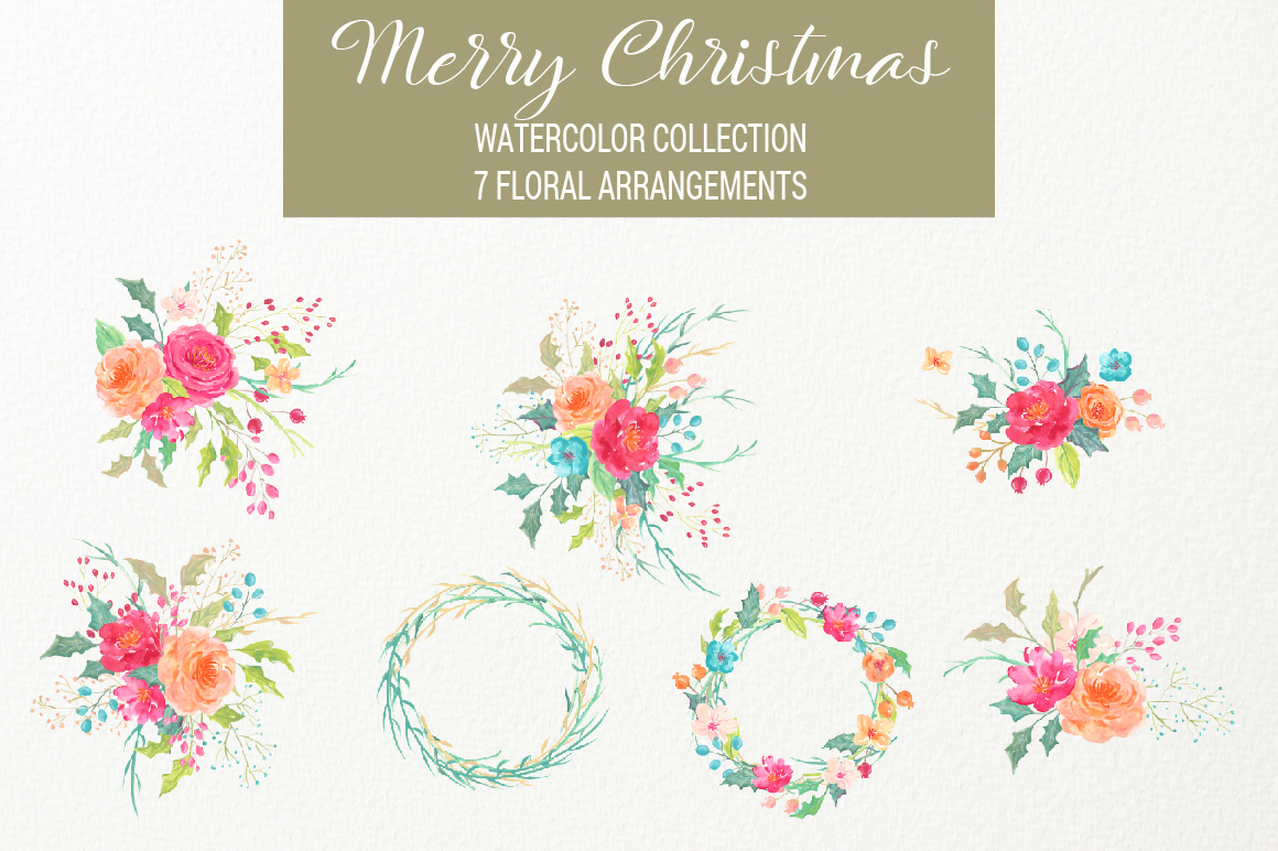 Merry Christmas Watercolor Collection example image 8
