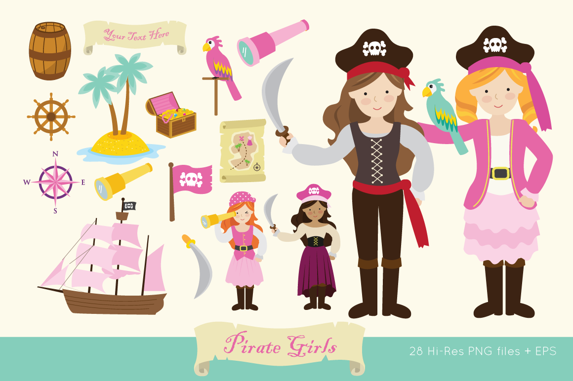 Pirate Girls Clip Art example image 1