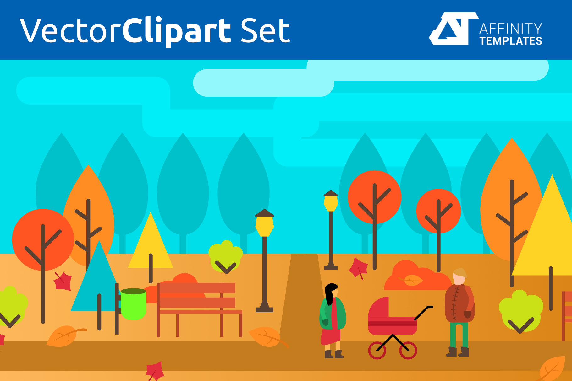 Autumn Park Clip Arts Set Fall example image 1