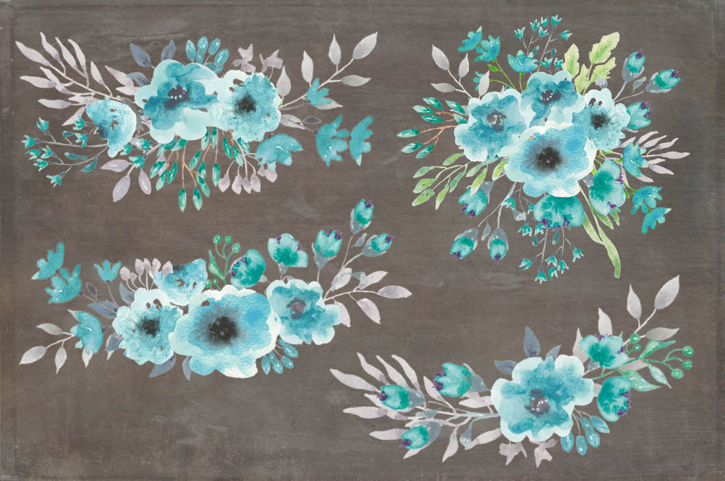 Watercolor clip art bundle: turquoise flowers example image 5
