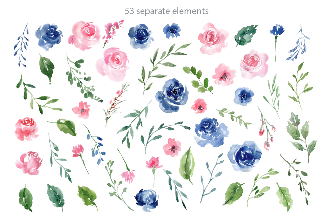 Watercolor Blue and Pink Roses Flowers PNG example image 2