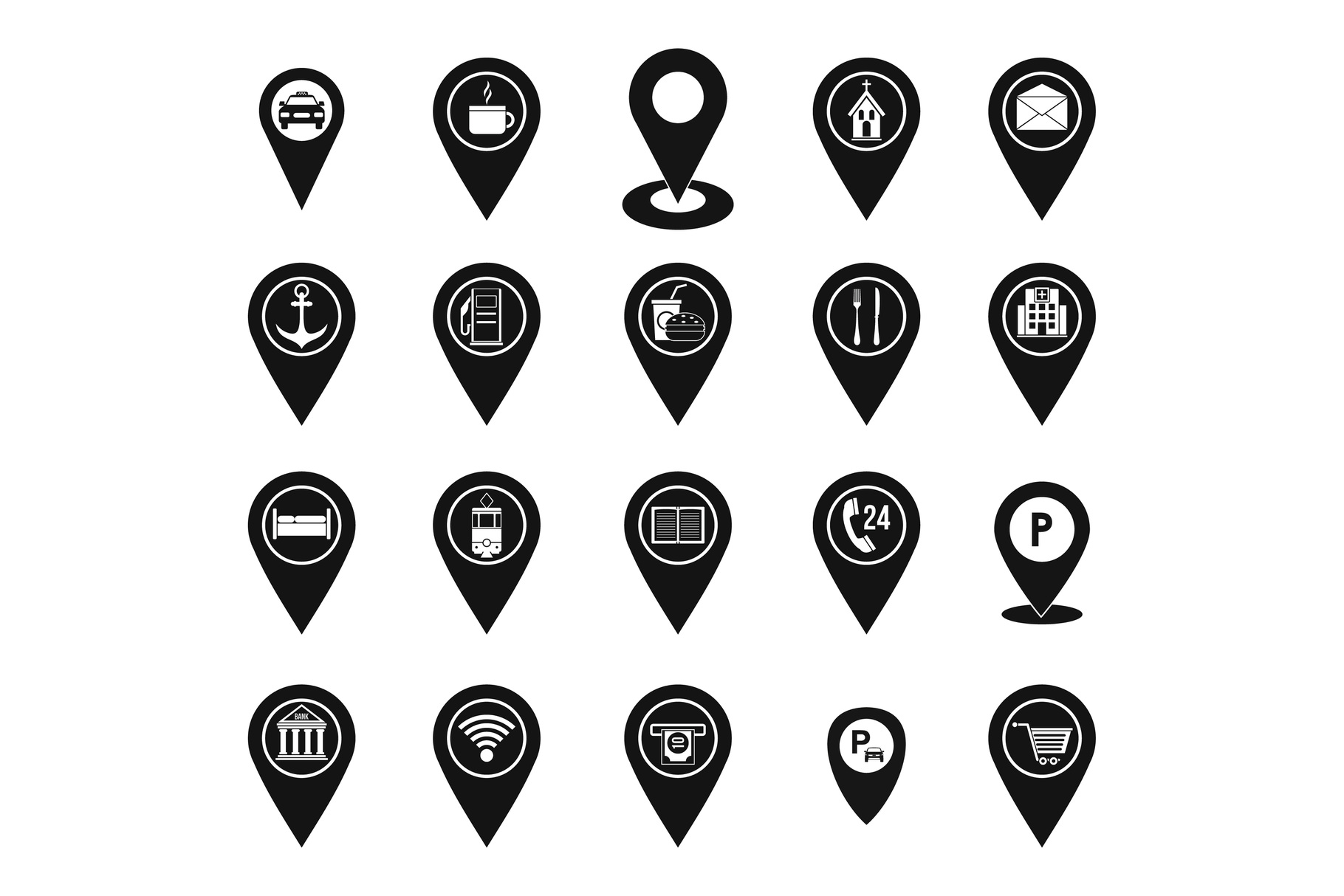 Map pins icon set, simple style example image 1