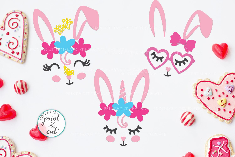 Bunny Rabbit faces Flowers Unicorn Horn Crown Bandana svg example image 9
