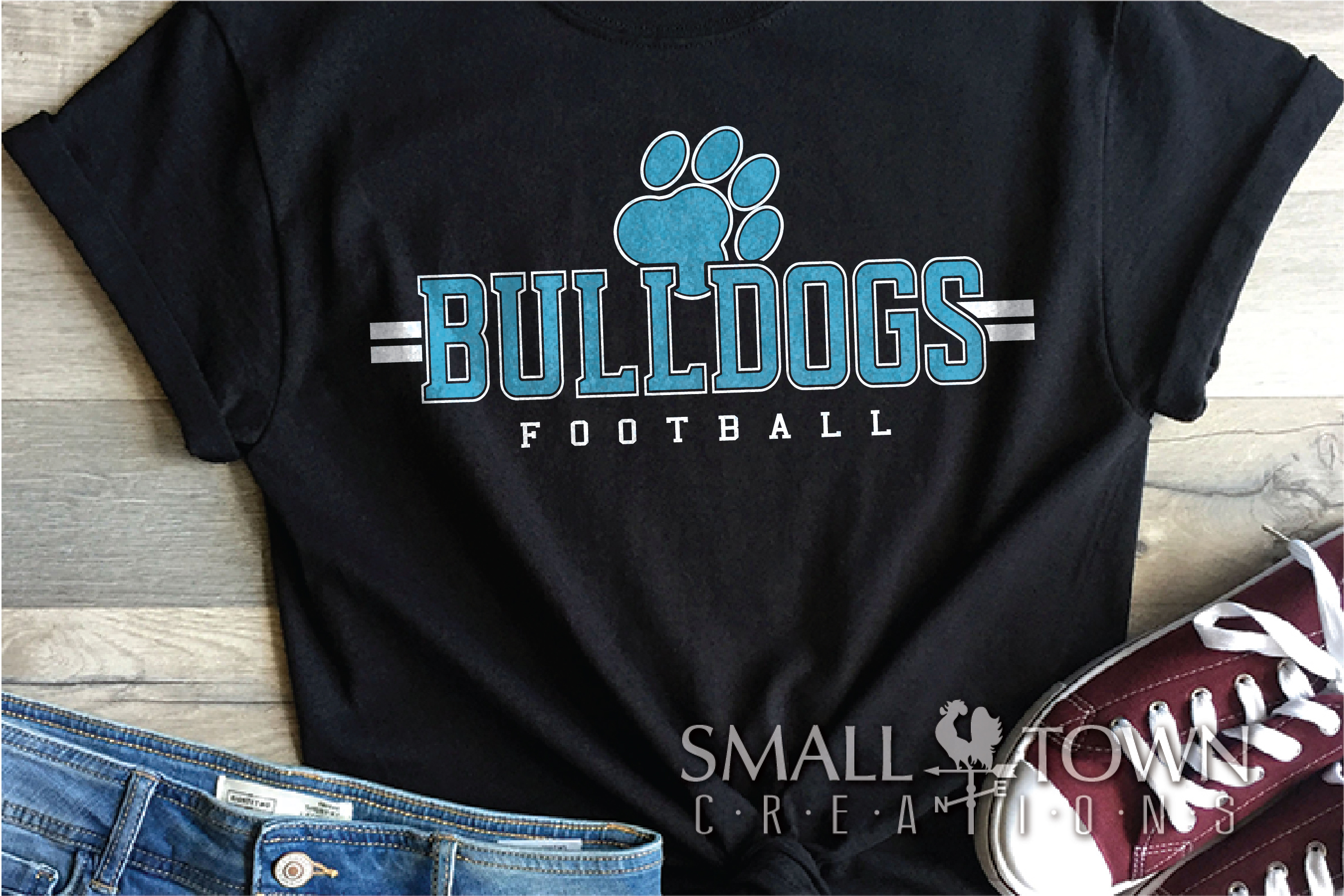 Bulldog Football, Paw Print, Team, PRINT, CUT & DESIGN example image 1
